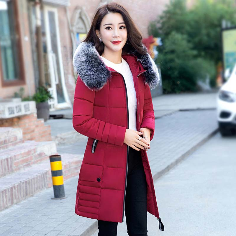 New Women 'S Cotton Jacket Long Hooded Casual Coat Fur Collar Winter Middle Age Cotton Jacket henry cotton s бермуды