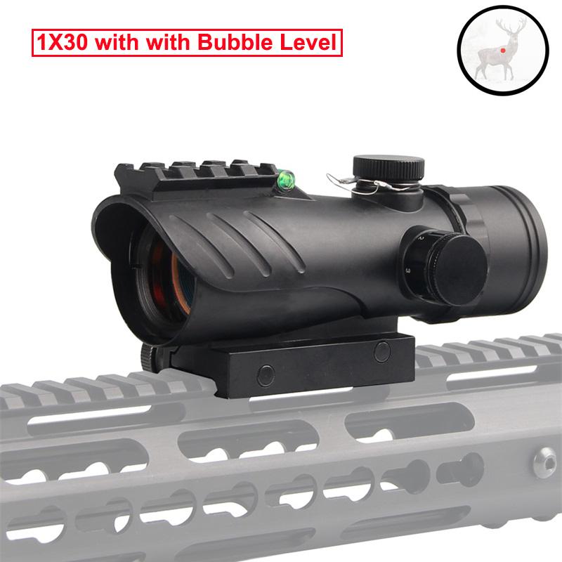 Tactical 1x30 ACOG Red Dot Sight Riflescope With Bubble Level Reflex Scope Tactical 20mm Rail Mount For Hunting Airsoft Rifle