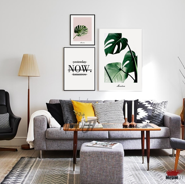 Posters Wall Art Printed Canvas Painting For Living Room Nordic Decoration  Monstera Tropical Greenery Leaves Wall Part 53