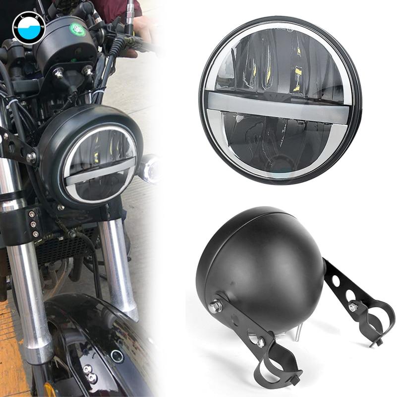 Universal-Motorrad-Nachr/üstsatz 14,5 cm rundes LED-Scheinwerfer-Scheinwerfer-Schwarz-Geh/äuse 5,75 Zoll EBTOOLS Motorrad-Scheinwerfer