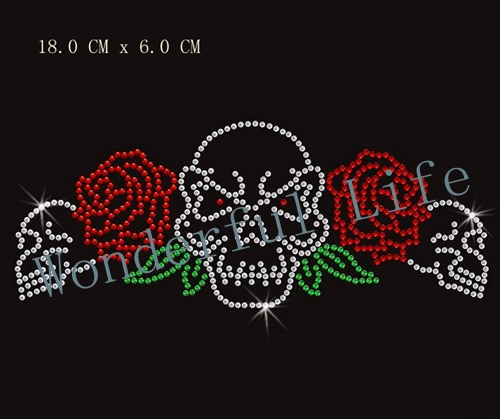 Wonderful life Wholesale free shipping Skull Roses Iron On Rhinestone  Hotfix Bling Transfer image for T shirt-in Rhinestones from Home   Garden  on ... c02113189fc4