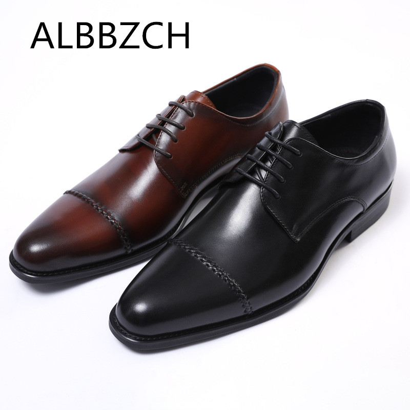 Genuine Leather Business Dress Men Shoes Trending Sewing Design Derby Mens Wedding Shoes High Grade Office Career Work Man ShoesGenuine Leather Business Dress Men Shoes Trending Sewing Design Derby Mens Wedding Shoes High Grade Office Career Work Man Shoes