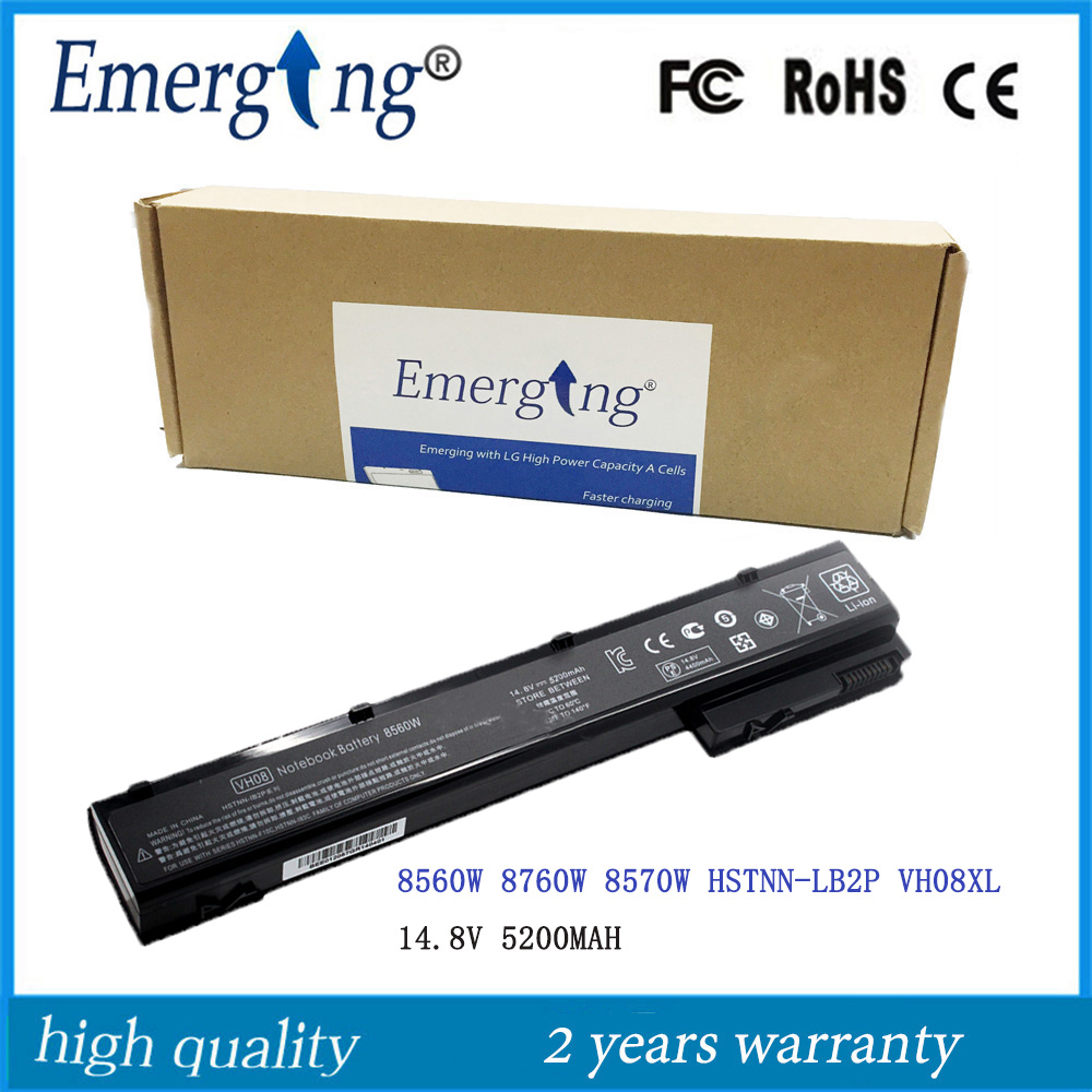 8Cells 14.8V New Laptop Battery for HP EliteBook 8560W 8760W 8570W HSTNN-LB2P VH08XL new cpu cooling fan for hp hp elitebook 8560w 8570w laptop p n mf60150v1 c000 s9a