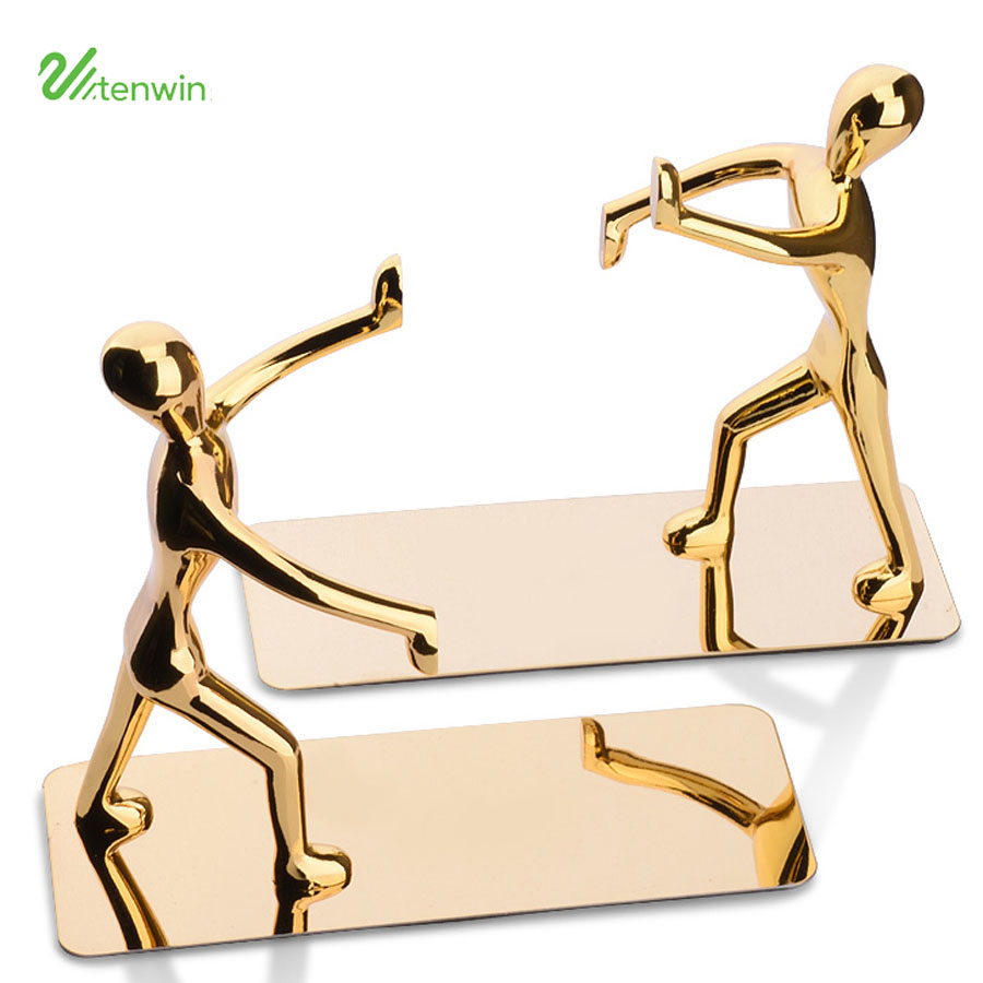Fashion Cool <font><b>Metal</b></font> Stainless Steel Human-Shaped Bookend <font><b>Book</b></font> <font><b>Stand</b></font> Bookshelf Holder Decoratives Gift 20NB020 image