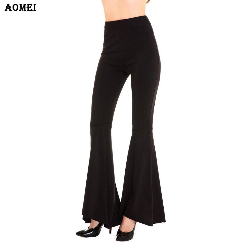 ab94791b96b Товар Women Summer Sping Fashion Solid Black Pants Ladies Elegant Bottom  Wide Ruffles High Waist Trousers S M L XL 2XL Full Length -