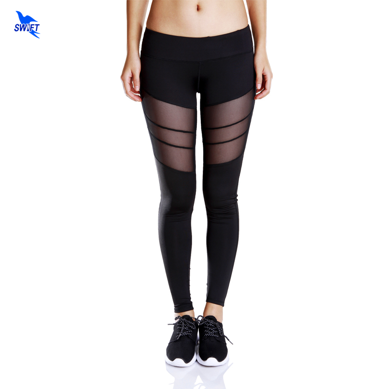 Women Plus Size Yoga Sports Pants Hollow Cut Out Splicing Mesh Leggings Quick Dry Sexy Gym Fitness Trousers Running Sportswear