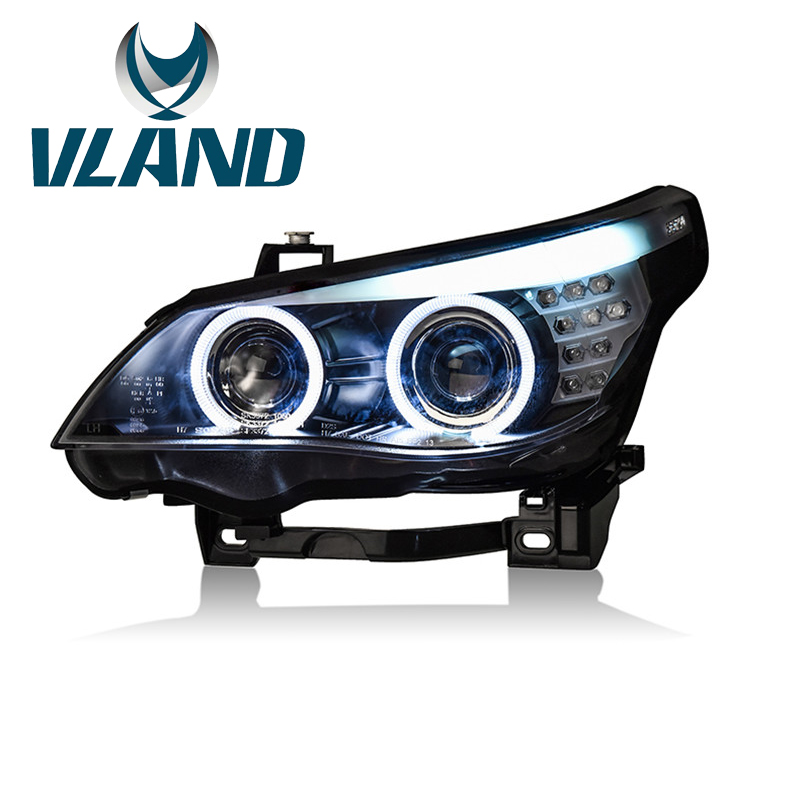 VLAND Factory For Car Headlamp For <font><b>E60</b></font> <font><b>Headlight</b></font> 2004 2005 2006 For 520 525 530 <font><b>LED</b></font> Head Light <font><b>H7</b></font> Xenon Lens + 100% Waterproof image