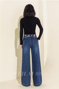 Image 5 - Женские джинсовые джинсы с высокой талией, широкие брюки, винтажные мешковатые брюки, повседневные свободные длинные брюки на завязках, брюки палаццо в стиле ретро