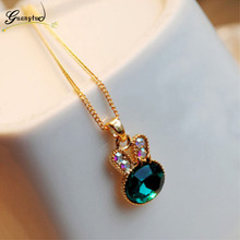 Bohemia Cute Green Crystal Bunny Pendants Necklaces Collares Fashion Jewelry Clavicle Chains Necklace Bijoux Gift