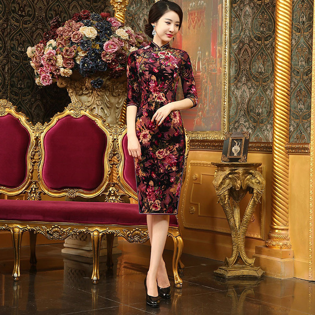 1bf4c3084 2017 Cheongsam Short Qipao Dresses Casual Traditional Chinese Clothes For  Woman Modern Chinese Gown Oriental Clothing