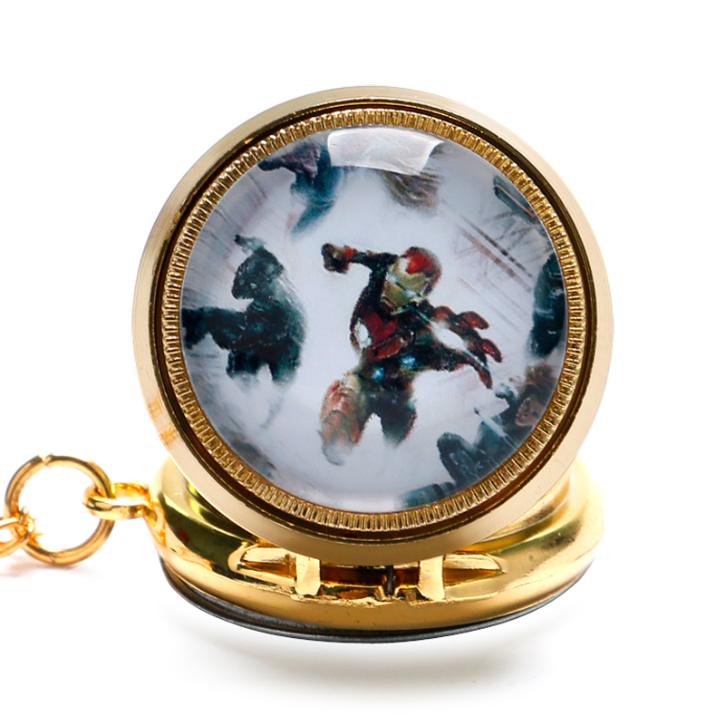 Mini Luxury Golden Case Quartz Pocket Watch Chain Men Fashion Design Fob Clock Boy Kids Gift for Christmas reloj bolsillo P1051 black star wars galactic empire badge pattern quartz pocket watch with key chain male female clock reloj de bolsillo masculino