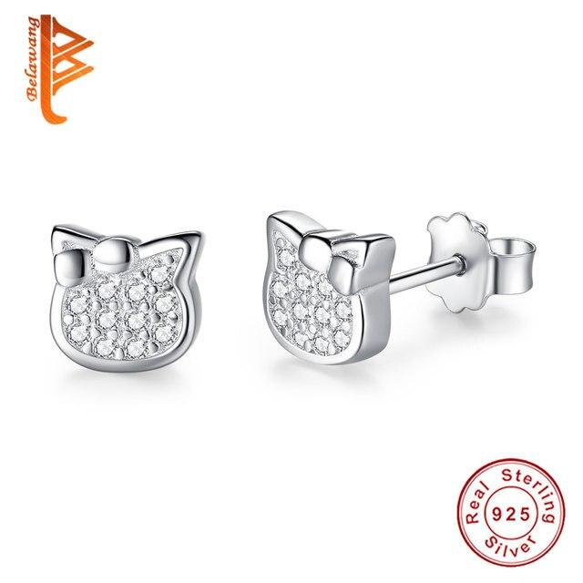 aa30e8c14 BELAWANG 100% 925 Sterling Silver Kitty Cat Stud Earring For Women Girls  Children Crystal Small Earrings Christmas Jewelry Gift-in Stud Earrings  from ...