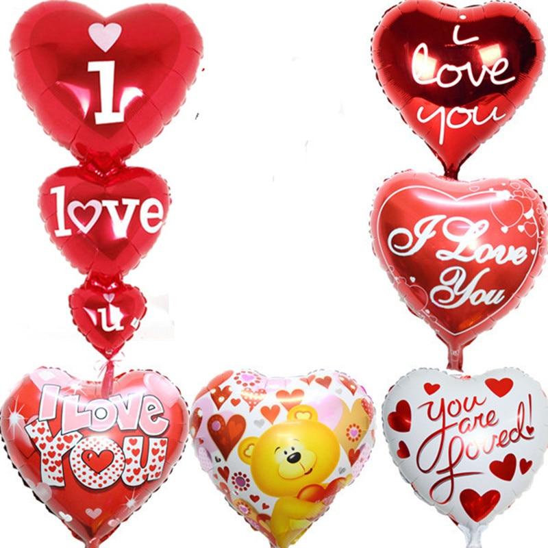 6pcs valentine balloons heart ballons set i love you long for I love you letter balloons