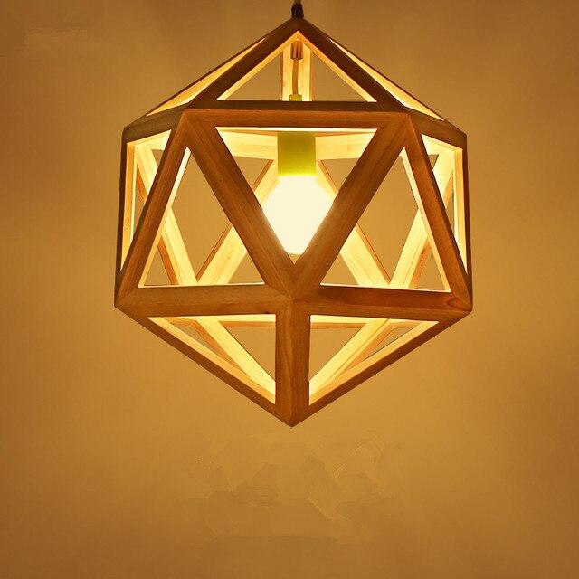 Hexaeder Form Holz Pendelleuchte Kreative Nordic Restaurant Bar Lampe Einfache Moderne Schlafzimmer Wohnzimmer Lichter