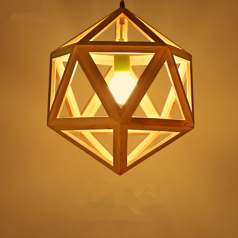 Hexahedral shape wooden pendant light creative Nordic restaurant bar lamp simple modern bedroom living room lights chinese style classical wooden sheepskin pendant light living room lights bedroom lamp restaurant lamp restaurant lights
