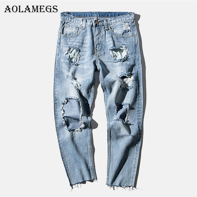 Aolamegs Biker Ripped Jeans For Men Holes Pants Mens Selvage Skinny Jeans Brand Baggy Denim Cotton Trousers Bottoms NEW Fashion new brand 2017 mens skinny jeans mid waist male trousers patchwork cotton men s denim slim pants fashion ripped jeans for men
