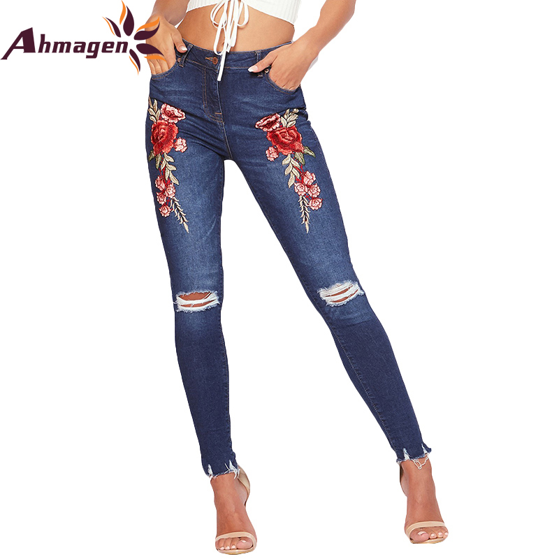 Ahmagen Good Quality Embroidery Rose Ripped Jeans Woman High Waist Skinny Jeans For Women Sexy Slim Holes Pencil Pants Femme ripped jeans for women 2016 high waist woman skinny pencil pants sexy holes black ripped jeans slim elastic trousers for women