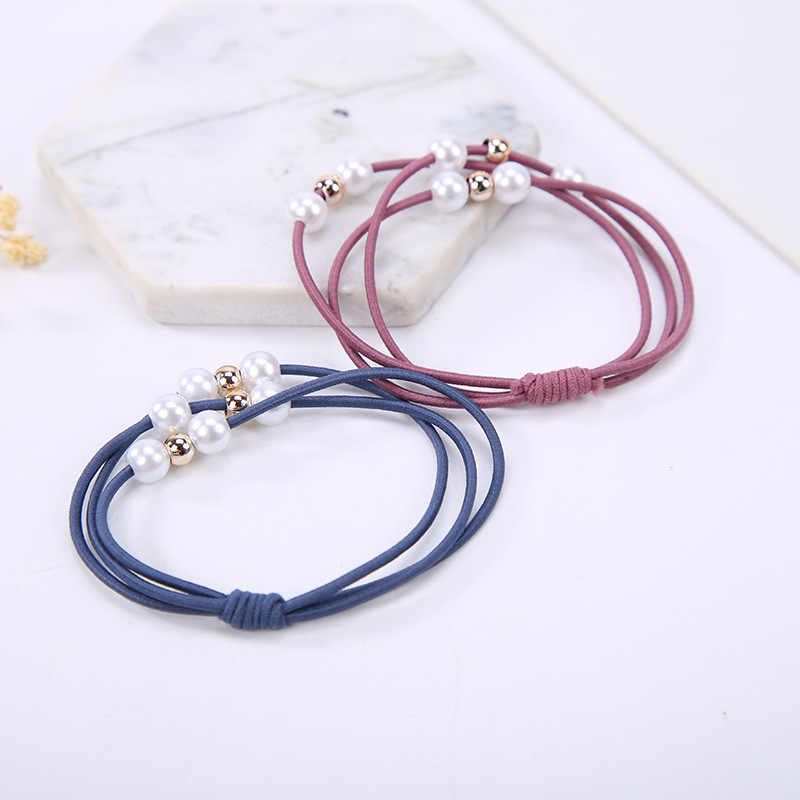 Three-layer Blue Pink Black Brown Green Red Six Artificial Pearls Elastic Hair Bands Ponytail Holders