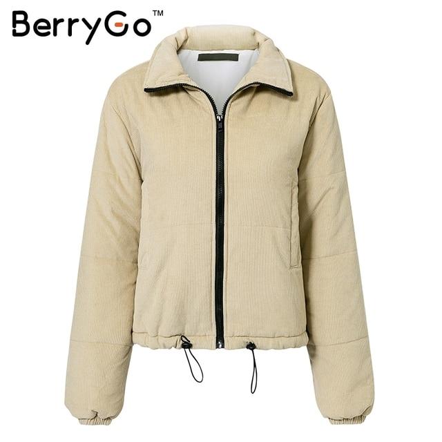 BerryGo Casual corduroy thick parka overcoat Winter warm fashion outerwear coats Women 2018 khaki streetwear jacket coat female 4
