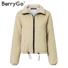 BerryGo Casual corduroy thick parka overcoat Winter warm fashion