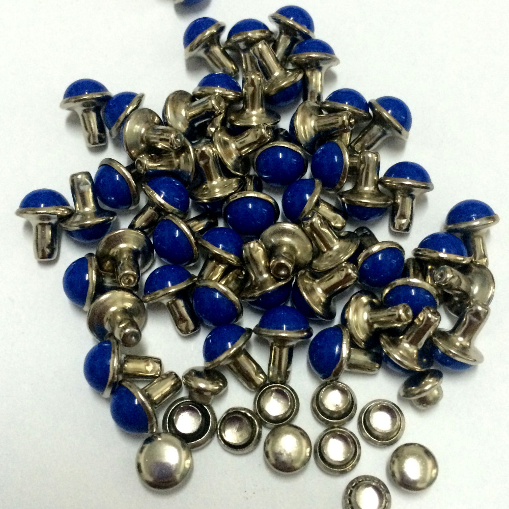 100PCS/Lot 6.5mm Round Royal Blue Acrylic Rivets Leather Craft Punk - Arts, Crafts and Sewing - Photo 3