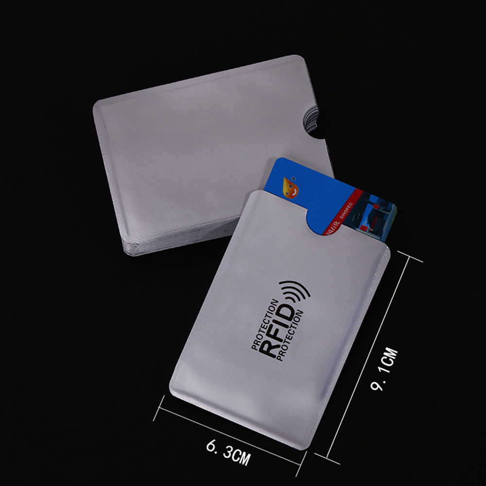 10pcs/lot Anti Rfid Blocking Reader Lock Bank Card Holder ID Bank Card Case Rfid Protection Metal Credit Card Holder Aluminium