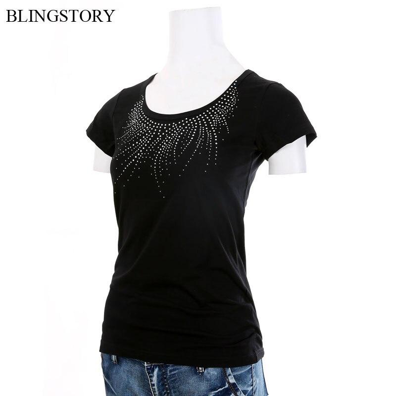 New Summer Bead Diamond Womens Top Female Tees Plus Size Brand T-shirt Dropship S-6XL LP521T042