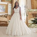 Plus Size Wedding Dresses 2016 Lace Appliques  V Neck with Crystal Beading Chapel Train Organza A-line louisvuigon