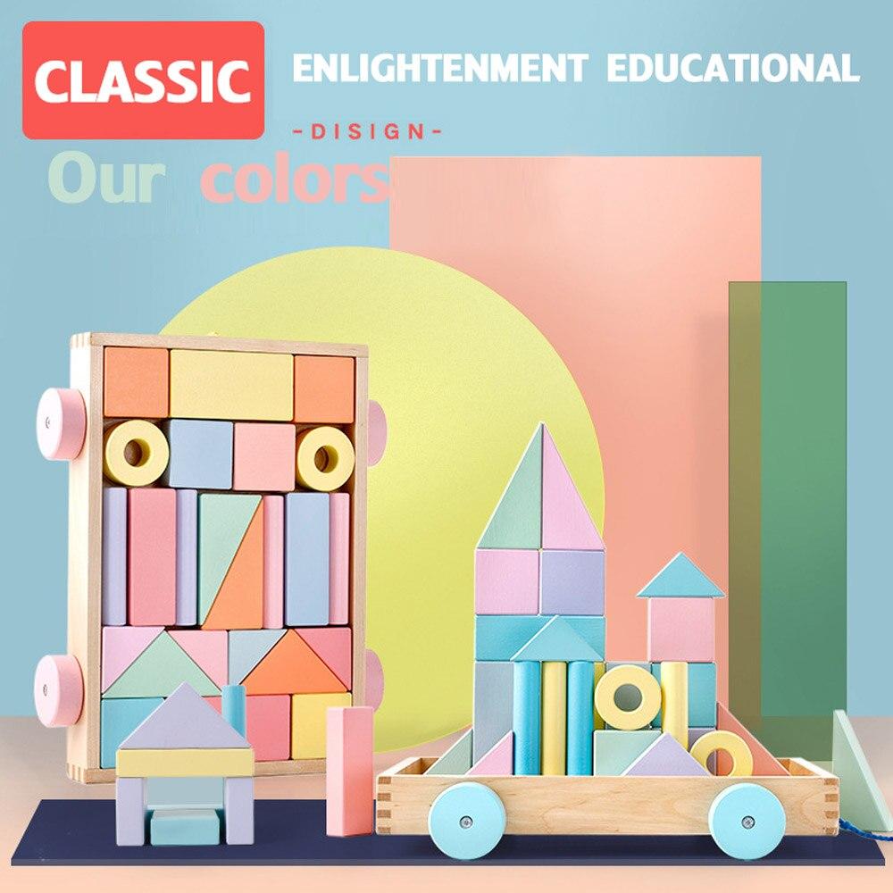 Montessori nordique jouets éducatifs en bois blocs de construction en bois ensemble en bois arc-en-ciel Blcoks décoration artisanat naturel jouets enfants