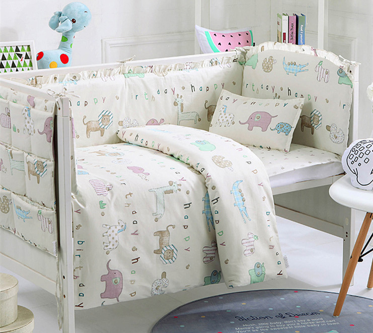 Promotion! 9PCS whole set baby crib bedding set of unpick and wash cot bedding kit 100% cotton,4bumper/sheet/pillow/duvet earthing fitted sheet earth grounding cotton $ silver conductive kit king 198 203cm with 2 pillow case revitalize and energize