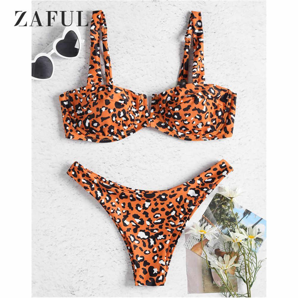 5aac19a5f4 ZAFUL Underwire Leopard Demi Bikini Swimsuit Women Swimwear Sexy Straps Low  Waisted Bikini Set Bright Orange