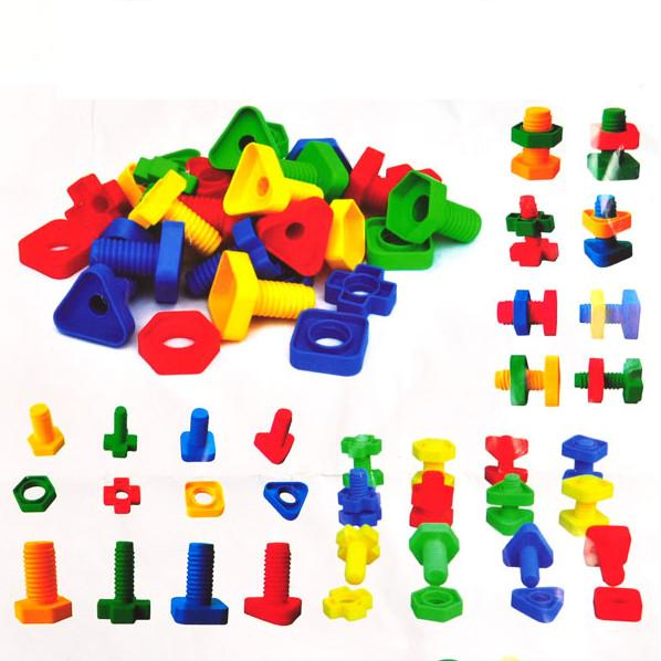 30pcs/pack screw blocks building for children toys plastic insert blocks baby creative kids educational game DIY assembly toy