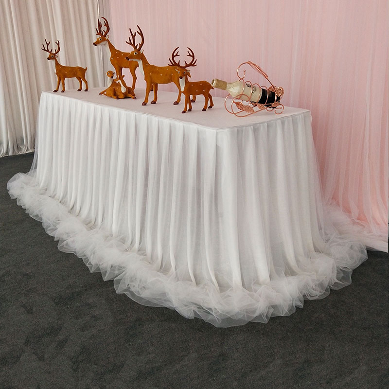 Chiffon Organza Wedding Table Skirt For Table Cloth Party Wedding Birthday Party Baby Shower Banquet Decoration Table Skirting