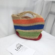 2019 new contrast color stripe handbag button hand grass braid bag beach