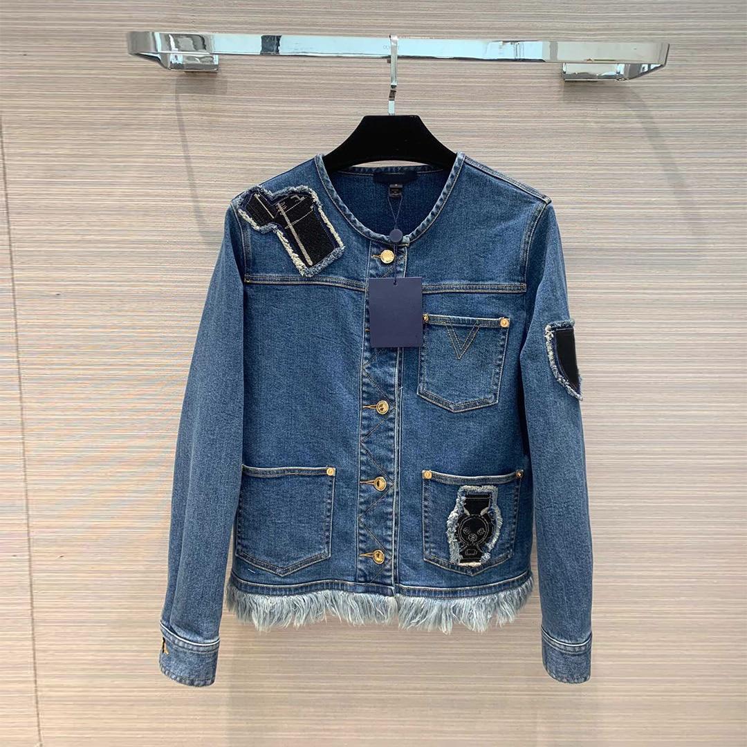 2019 Runway Brand Fashion Fall Denim Jacket Women O neck Single Breasted Patches Tassel Short Design Jackets Cotton Jean Coats