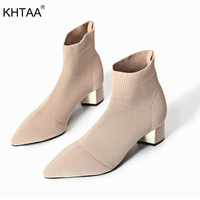 KHTAA Women Knitting Elastic Sock Boots Fashion Pointed Toe Ankle Boots Spring Autumn Female Square Middle Heels Ladies Casual