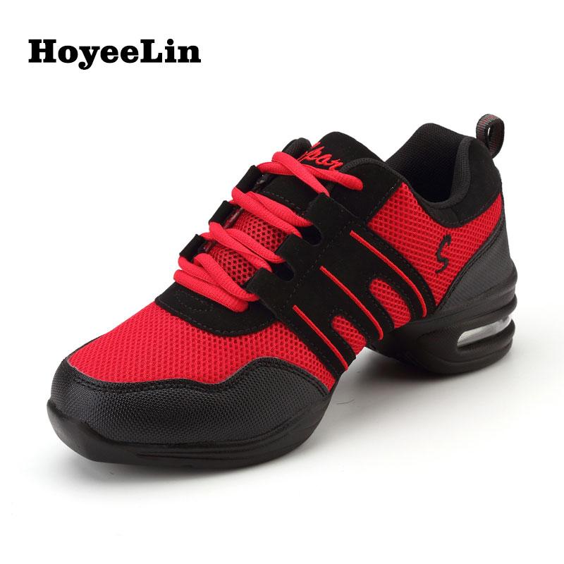 HoYeeLin Modern Jazz Dance Sneakers Women Soft Outsole Breathable Mesh Dancing Practice Shoes Lightweight Fitness Sport Trainers