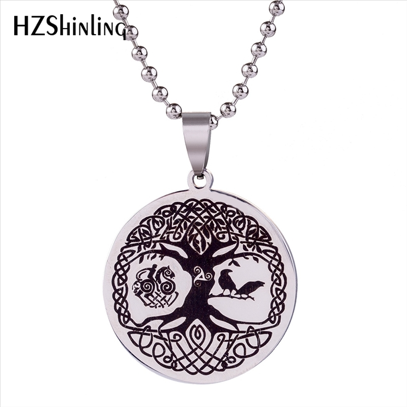 2018 New Tree of Life Pendant Stainless Steel Necklace Norse Viking Knot Amulet Pendants Nordic Talisman Jewelry Gifts Men HZ7