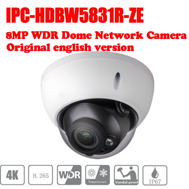 Free Shipping DAHUA 8MP WDR IR Dome Network Camera IPC-HDBW5831R-ZE 2.7mm ~12mm motorized lens no logo