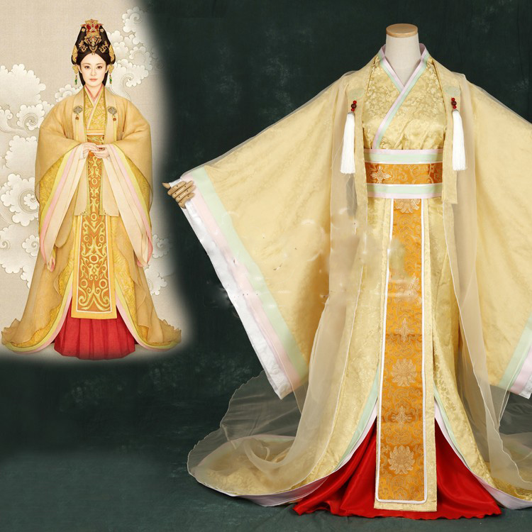 Wanhuazui 2015 Newest TV Play Legend Of Mi Yue - Ancient Qin Empress Xuan Photo House Princess Costume Yellow Gorgeous Hanfu