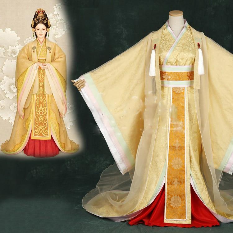 Wanhuazui 2015 Newest TV Play Legend Of Mi Yue - Ancient Qin Empress Xuan Photo House Princess Costume Yellow Gorgeous Hanfu