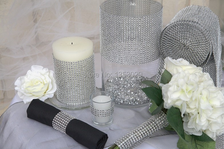 lowest price on aliexpress silver mesh trim wedding decoration diamond mesh wrap cake - Aliexpress Decoration Mariage