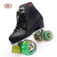 RENIAEVER Patins à roulettes 4 Roues Double Ligne De Patinage Chaussures En Alliage D'aluminium châssis en métal noir chaussures vert flash LED roues