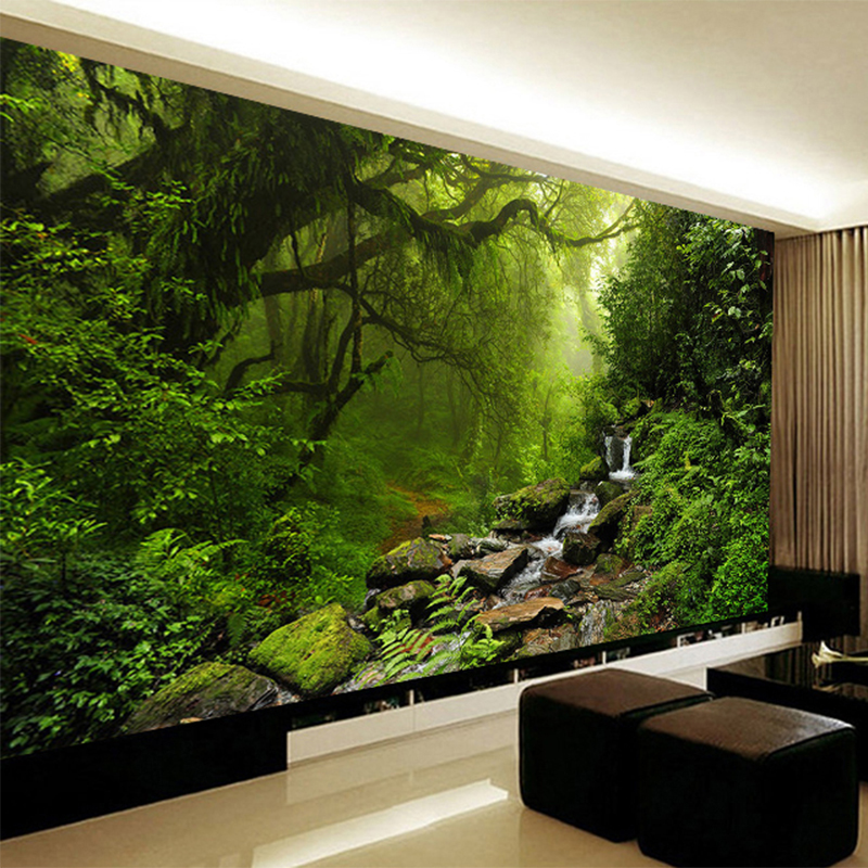 Photo wallpaper 3d stereo virgin forest nature landscape for 3d mural wallpaper for bedroom