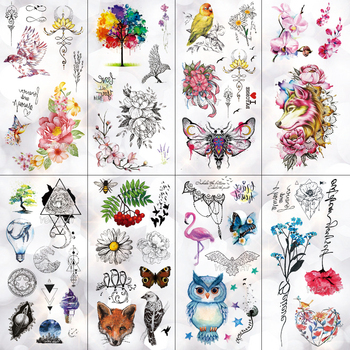 Unicorn Wolf Moth Universe Waterproof Temporary Tattoo Sticker Line Mountain Flash Tattoos Body Art Fake Arm tatoo Women
