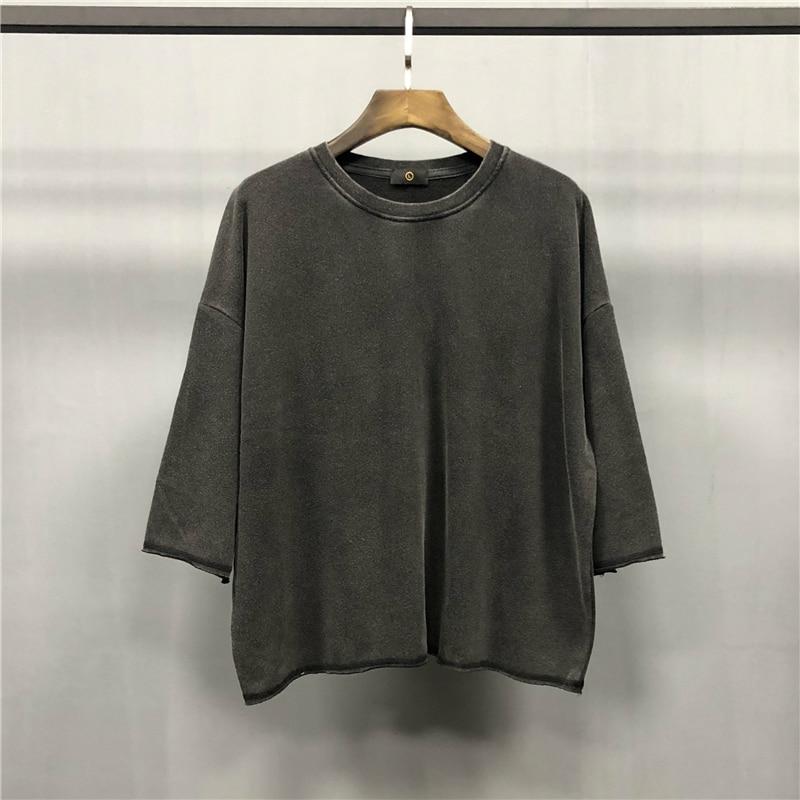 2019 Spring Kanye West Half sleeve Distressing Sweatshirt Hip hop Short Length Loose Pullover Thin Terry Cotton Streetwear