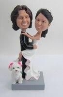 Express miễn phí vận chuyển Cá Nhân búp bê bobblehead với pet món quà cưới trang trí đám cưới polyresin búp bê Tùy Chỉnh