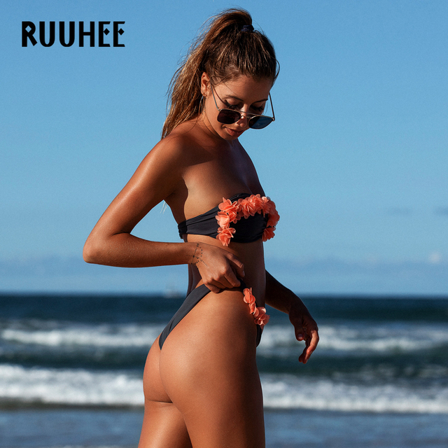 Strapless Push-Up Bikini Set with Floral Detail
