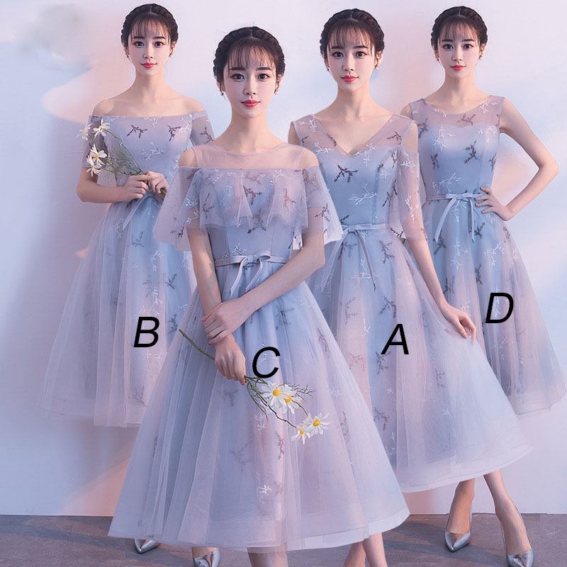 Mingli Tengda 2018 Elegant V Neck Bridesmaid Dresses Simple Tulle Long Sleeves Dress for Wedding Party Short Wedding Guest Dress