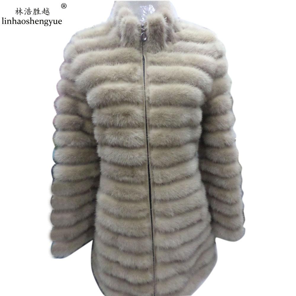 Linhaoshengyue Khaki blue black natural mink fur coat real mink fur coat